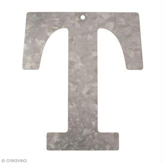 Lettre en métal galvanisé 12 cm - T