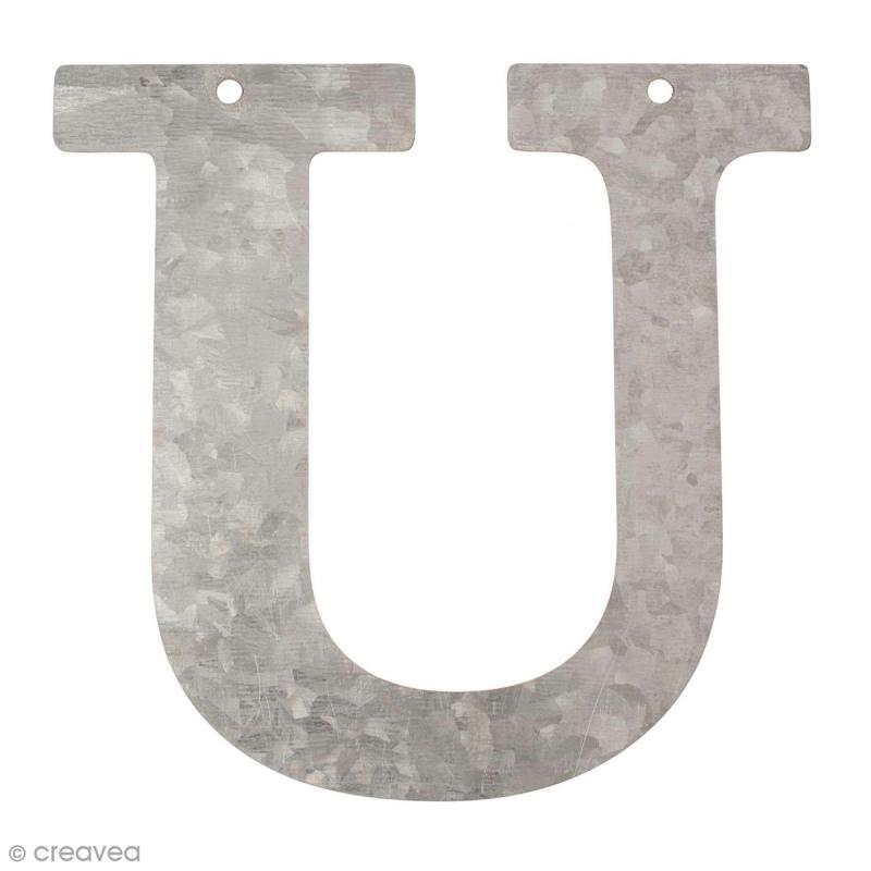 lettre en m tal galvanis 12 cm u lettre en m tal 12 cm creavea. Black Bedroom Furniture Sets. Home Design Ideas