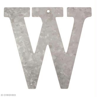 Lettre en métal galvanisé 12 cm - W