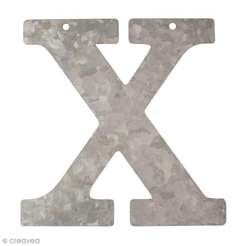 lettre en m tal galvanis 12 cm x lettre en m tal 12 cm creavea. Black Bedroom Furniture Sets. Home Design Ideas