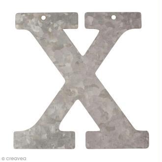Lettre en métal galvanisé 12 cm - X
