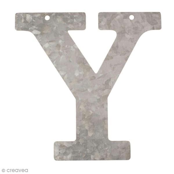 Lettre en métal galvanisé 12 cm - Y - Photo n°1
