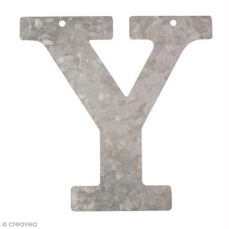 Lettre en métal galvanisé 12 cm - Y