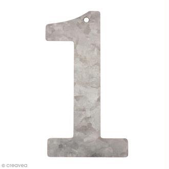 Chiffre en métal galvanisé 12 cm - 1