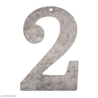 Chiffre en métal galvanisé 12 cm - 2