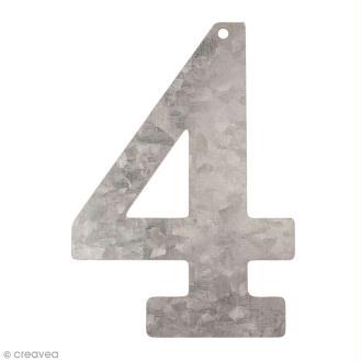 Chiffre en métal galvanisé 12 cm - 4