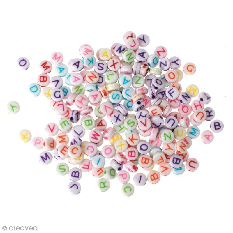 Perles Alphabet coloré rondes 5 mm - 200 pcs environ - Photo n°1