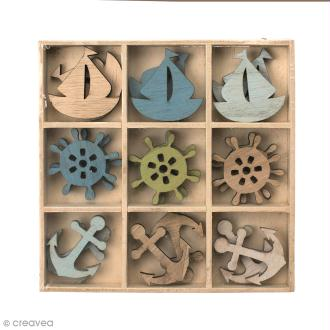Set de mini silhouettes en bois 3,5 cm - Mer - 18 pcs