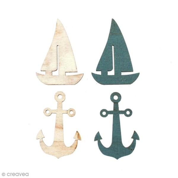 Set de mini silhouettes en bois 3,5 cm - Ancres et Bateaux - 12 pcs - Photo n°1
