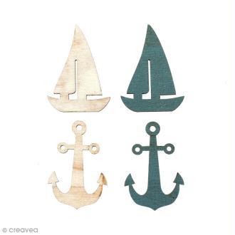 Set de mini silhouettes en bois 3,5 cm - Ancres et Bateaux - 12 pcs