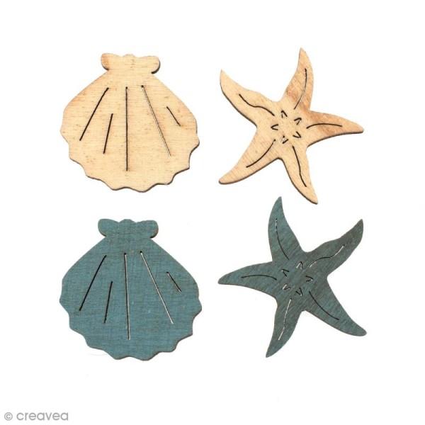 Set de mini silhouettes en bois 3,5 cm - Coquillages et Etoiles de mer - 12 pcs - Photo n°1