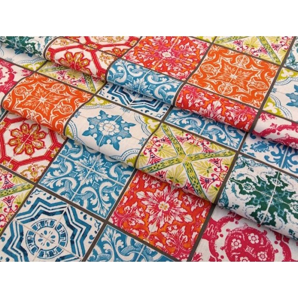 Tissu Lisbonne Azulejos Multicolore Par 25 Cm Tissu Fantaisie Creavea