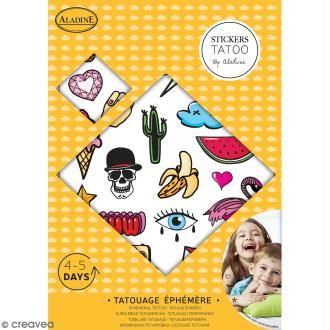 Tatouages temporaires - Ecussons enfants - Planche de 12,2 x 17,3 cm