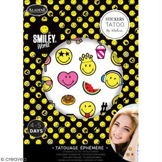 Tatouages temporaires - Smileys - Planche de 12,2 x 17,3 cm