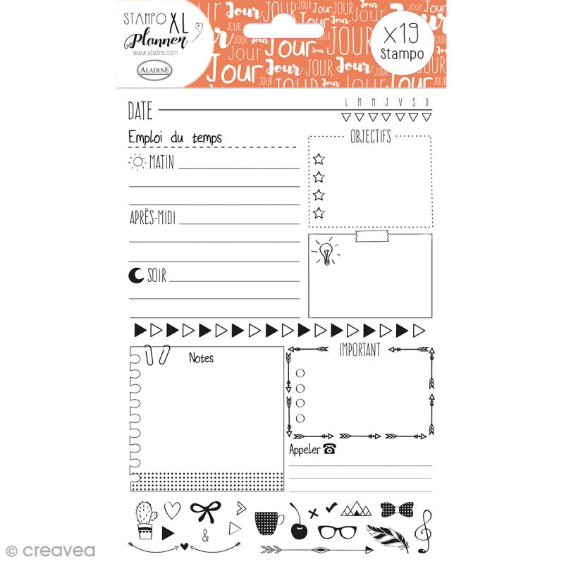 Kit Stampo - Planner Page Jour - 19 tampons - Photo n°1