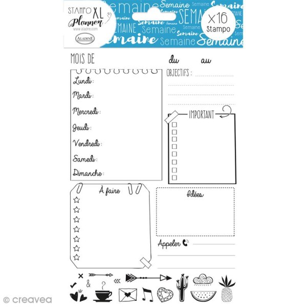 Kit Stampo - Planner Page Semaine - 16 tampons - Photo n°1