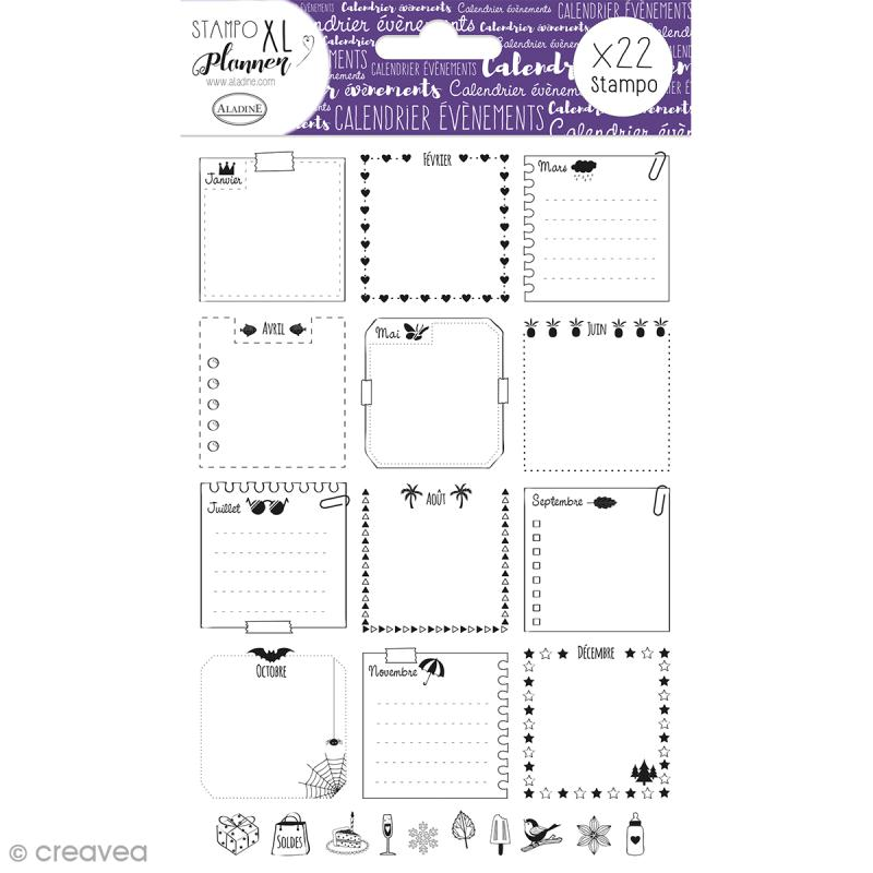 Kit Stampo - Planner Page Calendrier - 22 tampons - Photo n°1