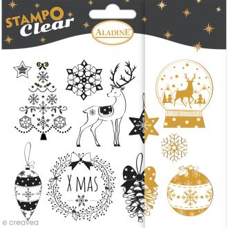 Tampon clear Aladine - Noël - Planche 15 x 12,5 cm - 11 Stampo'clear