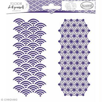 Pochoir Do it yourself d'Aladine - Formes géométriques japonisantes - 15 x 15 cm
