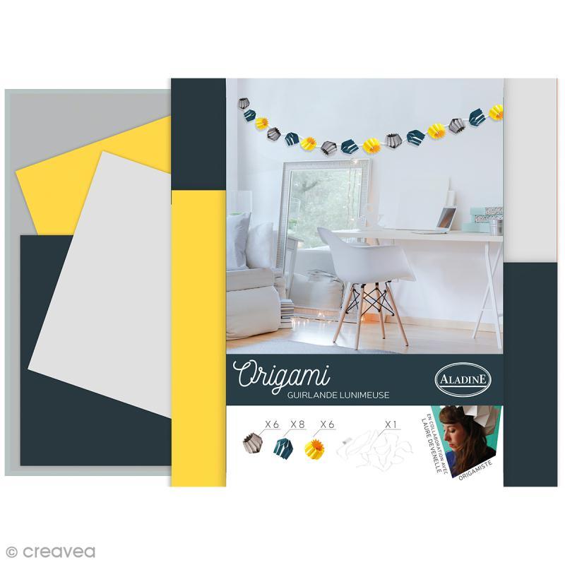 kit origami guirlande lumineuse tendance bleue grise jaune kit origami creavea. Black Bedroom Furniture Sets. Home Design Ideas