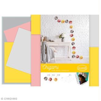 Kit Origami - Guirlande lumineuse romantique - Rose, Grise, Jaune