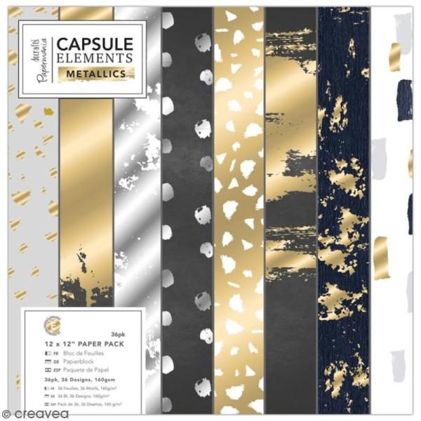 Papier scrapbooking Papermania - Eléments métalliques - 30 x 30 cm - 36 feuilles - Photo n°1