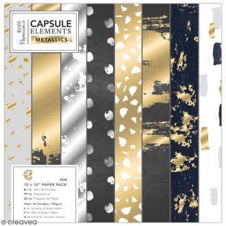 Papier scrapbooking Papermania - Eléments métalliques - 30 x 30 cm - 36 feuilles