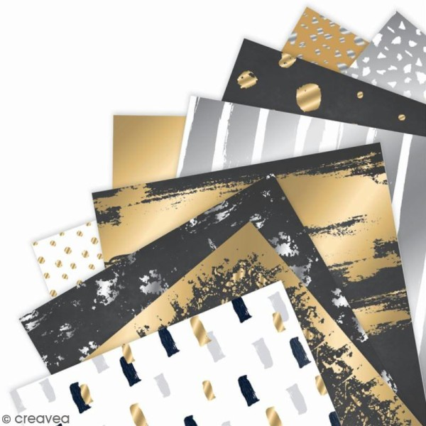 Papier scrapbooking Papermania - Eléments métalliques - 15 x 15 cm - 36 feuilles - Photo n°2