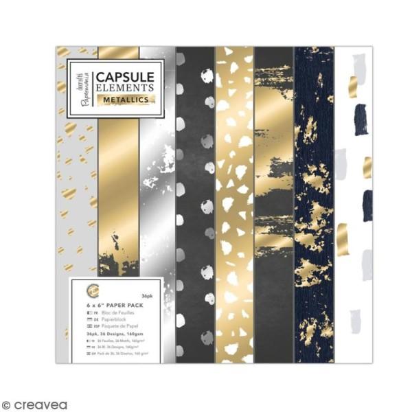 Papier scrapbooking Papermania - Eléments métalliques - 15 x 15 cm - 36 feuilles - Photo n°1
