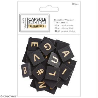 Lettres carrées en bois - Noir et doré - Collection capsule Elements Metallic - 2 x 2 cm - 30 pcs