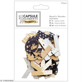 Lettres Métallisées Bois - Collection Capsule - Elements Metallic - 27 pcs