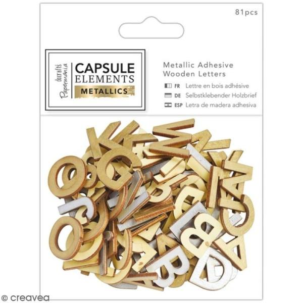 Lettres en bois adhésives Papermania - Eléments métalliques - 2 cm - 81 pcs - Photo n°1