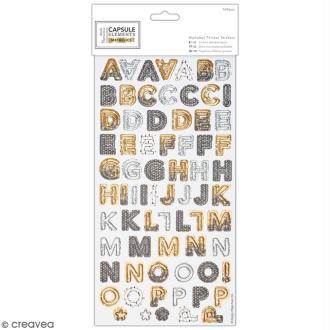Stickers Alphabet cartonné Docrafts - Collection capsule Elements Metallic - 169 pcs