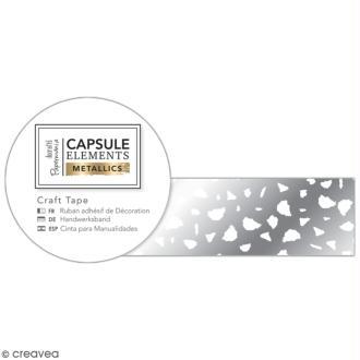 Ruban adhésif décoratif Papermania - Eléments métalliques - Blanc et Argenté - 3 m x 1,5 cm