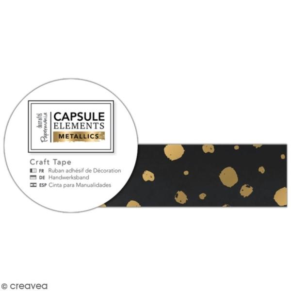 Ruban adhésif décoratif Papermania - Eléments métalliques - Noir et Doré - 3 m x 1,5 cm - Photo n°1