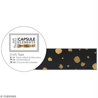 Ruban adhésif décoratif Papermania - Eléments métalliques - Noir et Doré - 3 m x 1,5 cm