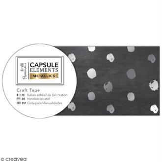 Ruban adhésif décoratif Papermania - Eléments métalliques - Noir et Pois Argentés - 3 m x 3 cm
