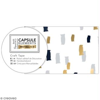 Ruban adhésif décoratif Papermania - Eléments métalliques - Taches Multicolores - 3 m x 4,7 cm