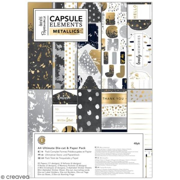 Pack complet scrapbooking Eléments métalliques - A4 - 48 pcs - Photo n°1