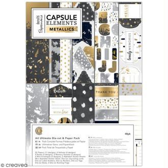 Pack complet scrapbooking Eléments métalliques - A4 - 48 pcs