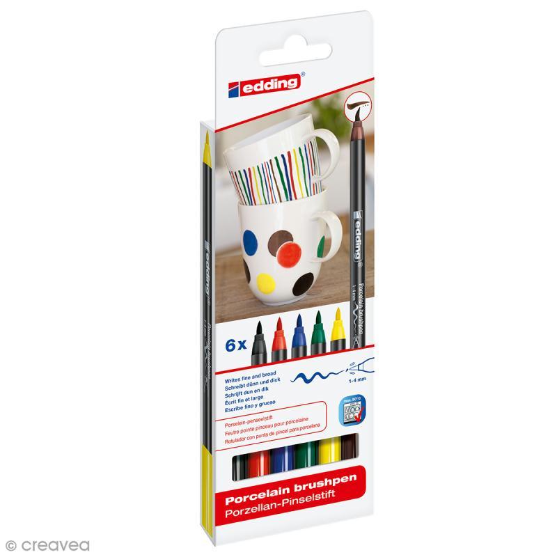 feutres porcelaine edding 4200 coloris standards 6 feutres feutre porcelaine creavea. Black Bedroom Furniture Sets. Home Design Ideas