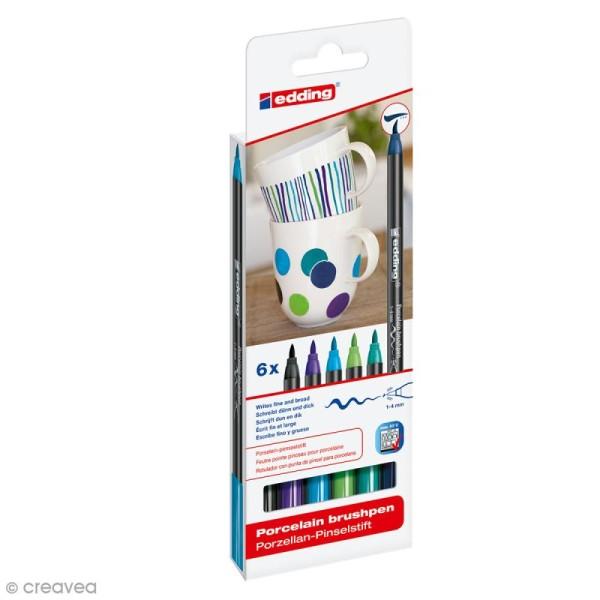 Feutres Porcelaine Edding 4200 - Camaïeu bleu vert - 6 feutres - Photo n°1