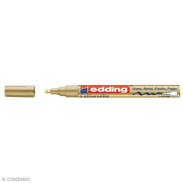 Marqueur peinture calligraphie Edding 753 - Doré - Pointe de 1 à 2,5 mm - Photo n°1