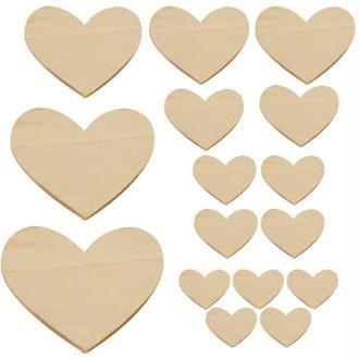 Lot de 16 coeurs en bois