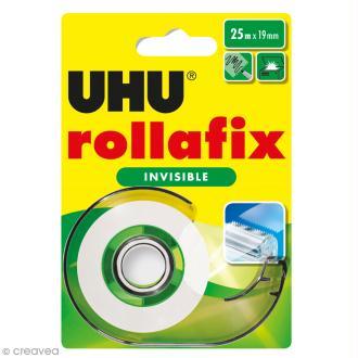 Rouleau adhésif invisible Rollafix avec dévidoir - 19 mm x 25 m