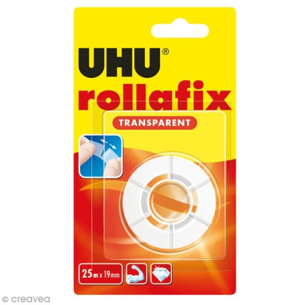 Rouleau adhésif transparent Rollafix - 19 mm x 25 m - Photo n°1