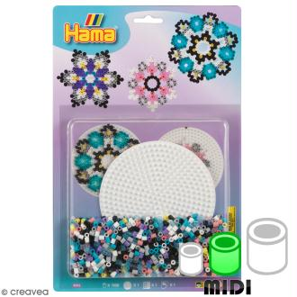Kit Perles Hama Midi - Motifs Fleurs