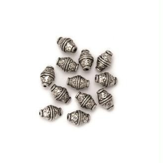 Perle ovale effet métal ciselé 13 x 18 mm - Lot de 2