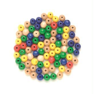 Assortiment de perles rondes en bois multicolores - 4 mm - 155 pcs