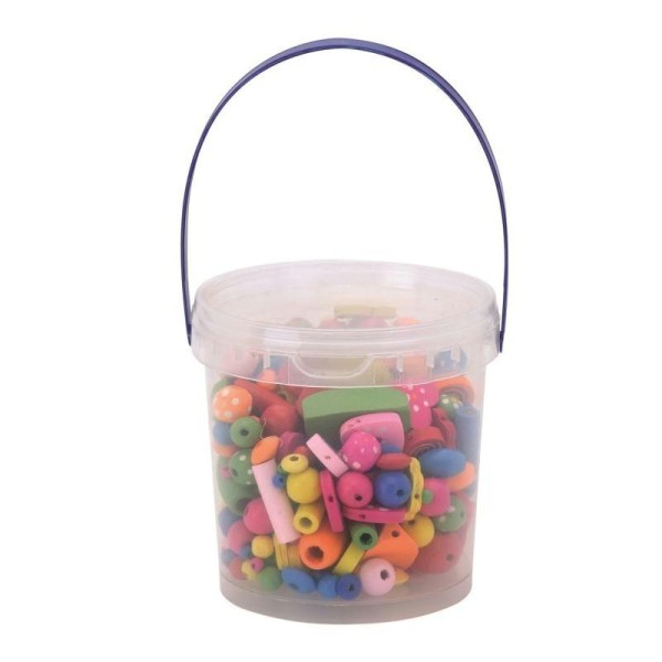 Assortiment de perles en bois multicolores - 180 g - Photo n°1